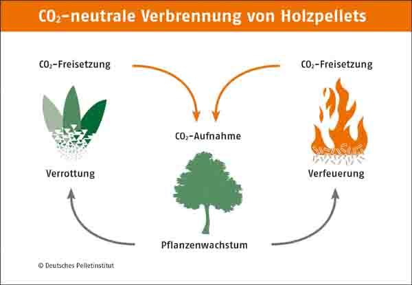 Produkte Darstellung einer neutralen Verbrennung von Holzpellets